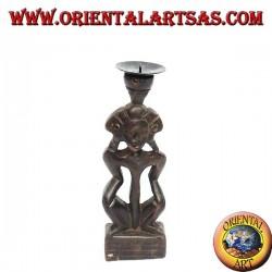 Statua donna tribale in legno a portacandele