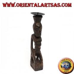 Statua tribale in legno a portacandele
