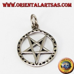 Silver pentacle pendant inverted with tip downwards