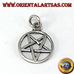Pendant pentacle silver with pointed tip down (small)