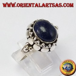 Silver ring with oval natural lapis lazuli