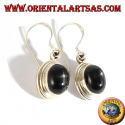 Silver pendant earrings with black star