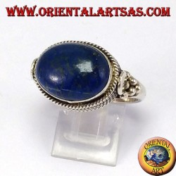 Silver ring with lace Lapislazzuli natural oval