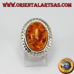 Кольцо серебряное с большим овальным Amber