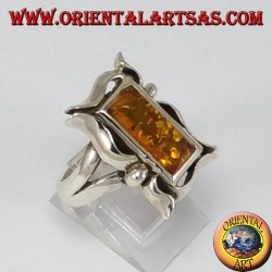 Silver ring with rectangular amber in frame