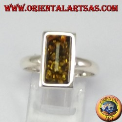Simple silver ring with rectangular green Amber