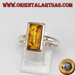 Anelli d'argento semplici con ambra rettangolare