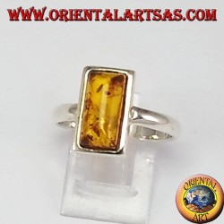 Simple silver rings with rectangular amber