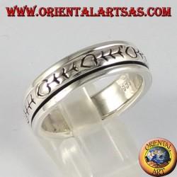 Silver glitter ring Balanced anti-stress swivel