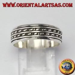 Anello fedina in argento girevole antistress a due righe di puntini