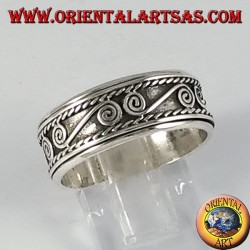 Anti-stress swivel silver ring with S-shaped spirals