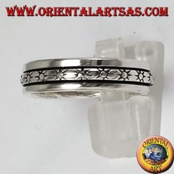 Silver swivel ring with sun