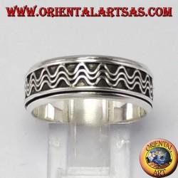 Anello girevole d'argento ( Antistress ) decorazione ad onde