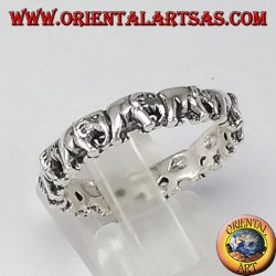 Silver ring, elephants in a row