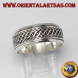 Anello girevole d'argento ( Antistress ) decorazione intreccio di onde