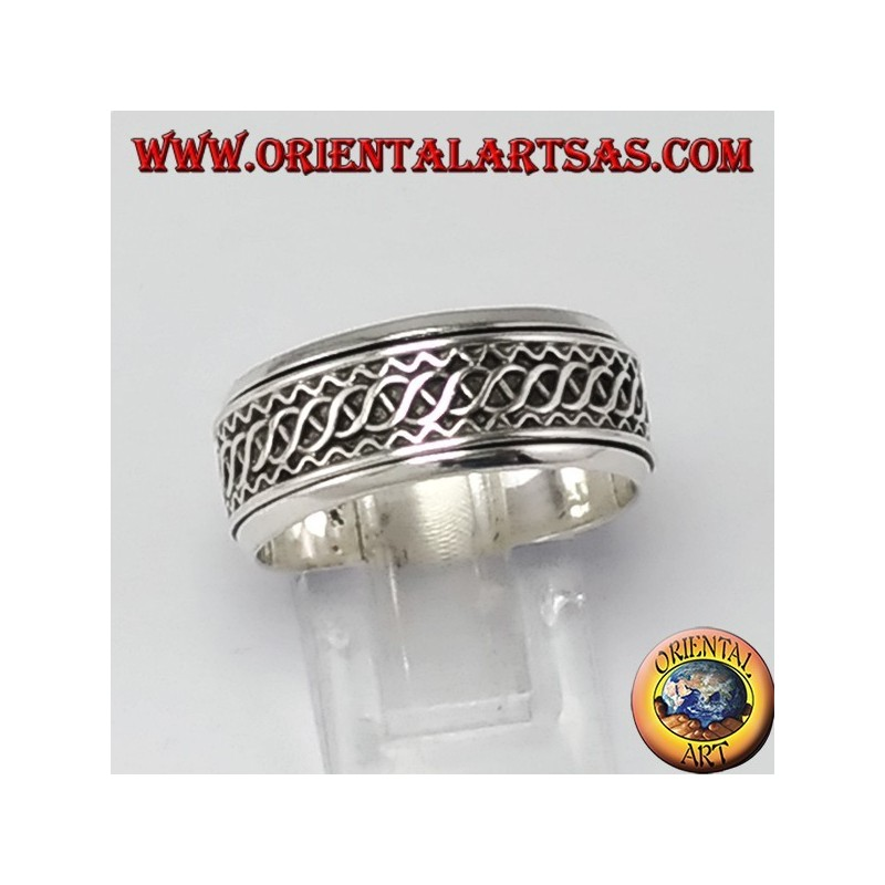 antistress Swivel Ring Silver 925 ‰ Decoration Weave of waves