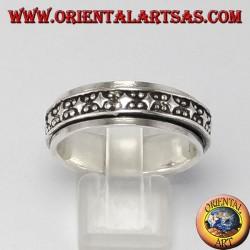 Anello d'argento girevole ( Antistress ) decorazione rombi