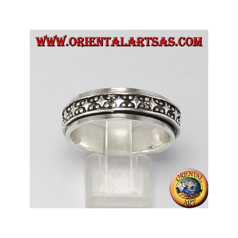 Rotating silver ring (Antistress) rombi decoration