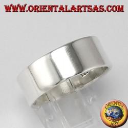 Серебряное кольцо, плоская полоса 8 мм.