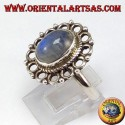 Silver ring, with oval rainbow moon stone and rim of circles
