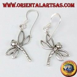 Silver earring dragonfly pendant