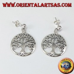 Silver earrings, tree of life