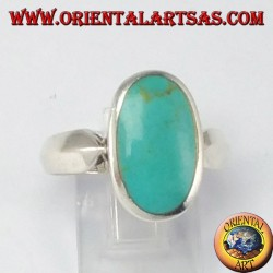Simple silver ring with oval turquoise