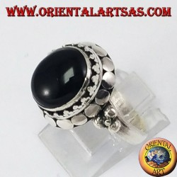 Silver high-top ring with oval onyx
