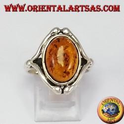 Серебряное кольцо с Amber Овал