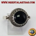 Silver high-end ring with round onyx