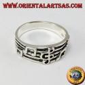Silver ring, violin key on the pentagram