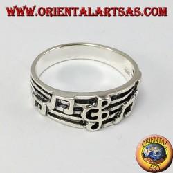 Silber Ring, Violinschlüssel auf dem Personal