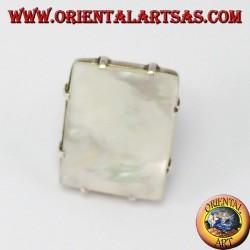 Anello d'argento con Madreperla rettangolare con griffe