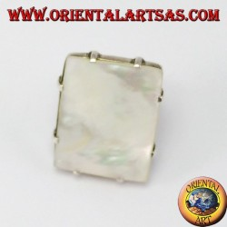 Silver ring with rectangular mother of pearl with markers