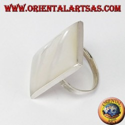 Silver ring with rectangular mother of pearl
