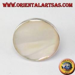 Anello in argento con madreperla tonda grande, regolabile (free size)