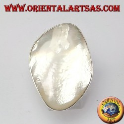 Silver ring with a large mother of pearl