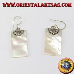 Серебряные серьги с прямоугольным перламутром