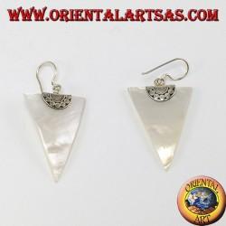 Серебряные серьги с перламутром треугольника