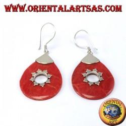 Silber-Ohrringe mit Korallen Tropfen
