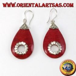 Boucles d'oreilles argent avec goutte d'eau de corail avec trou central (clouté)