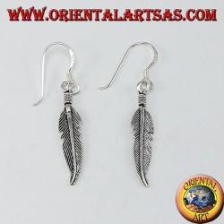 Orecchini pendente in argento piuma medio