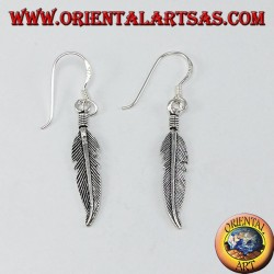 Silver pendant earrings with medium feather