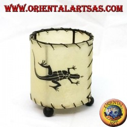 Cylindrical leather candle holder with drawn gecko