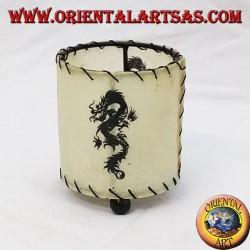Portacandela in pelle, cilindrico con drago disegnato