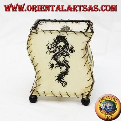 Porte-robe en cuir, en forme de S, avec dragon dessiné