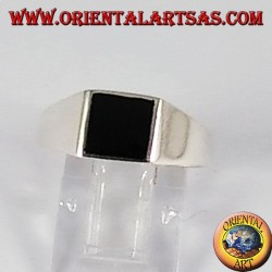 Silberring mit Onyx Platte 8 * 8 mm.