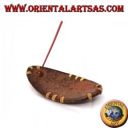 Burn incense, elliptical in terracotta