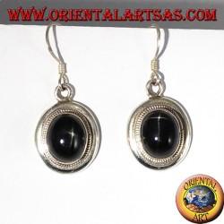 Серебряные серьги с черной звездой