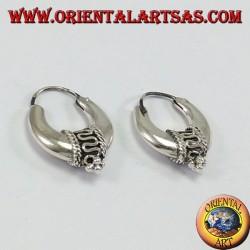 Orecchini d'argento a cerchio mezzaluna decorati mm.20